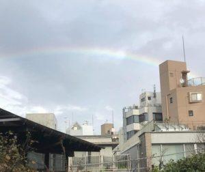 退院後病院から出ると空には虹が^^